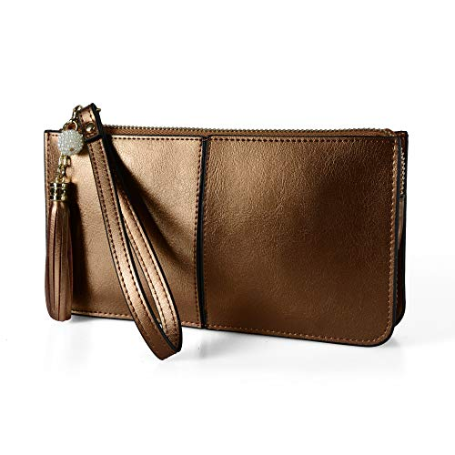 Befen Soft Leather Wristlet Phone Wristlet Wallet Clutch with Wrist Strap/Card slots/Cash pocket- Fit iPhone 6S Plus/Samsung Note 5 - Bronze