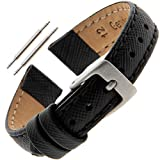 Gilden 10-12mm Ladies Saffiano-Style Black Leather Watch Strap SAFSTY-0110 (10 Millimeter end Width, Black, Silver-Tone Buckle)
