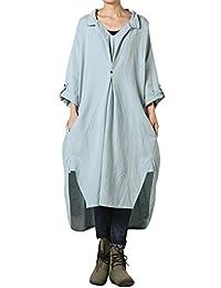 Mordenmiss Women's New Hi-Low Hem Plus Size Dresses with Pockets