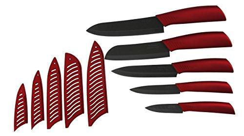 Melange 10-Piece Ceramic Knife Set with Metallic Red Handle and Black Blade