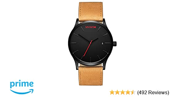 Amazon.com: MVMT Classic Watches | 45 MM Mens Analog Minimalist Watch | Black Tan: Mvmt: Watches
