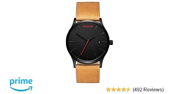 Amazon.com: MVMT Classic Watches | 45 MM Mens Analog Minimalist Watch | Black Tan: Mvmt: Watches