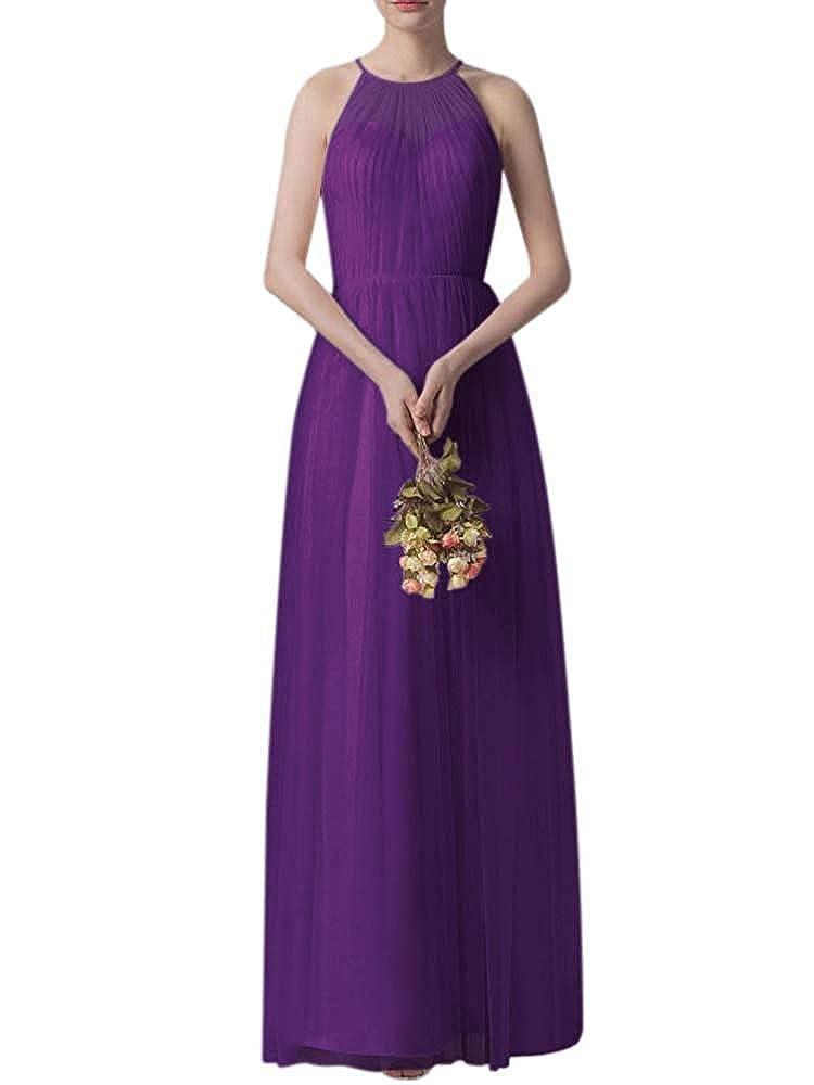 Purple Bridesmaid Dress Women's Ruffle Tulle Wedding Cocktail Party Dresses