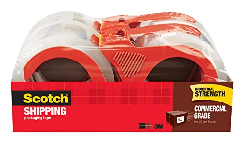 Scotch Commercial Grade Packaging Tape, 1.88 in. x 54.6 yd., Clear, 4 Rolls/Pack ()
