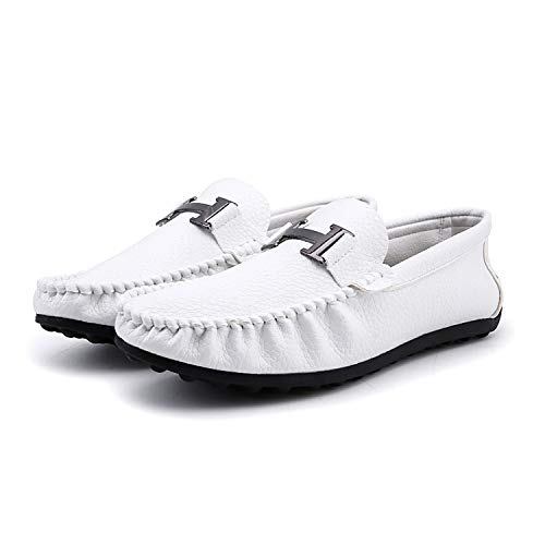 (Loafer Slippers Men Flats Casual Genuine Leather Business Dress Shoes,White,7)