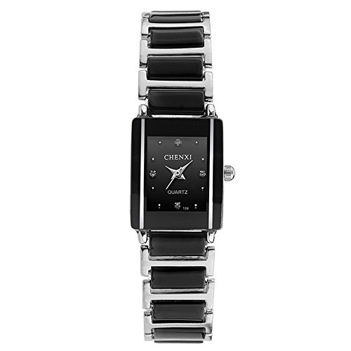 Classic Rectangular Lovers Watches - Simple Rhinestone Decorated Dial Ceramic Strap Black Watches for Women