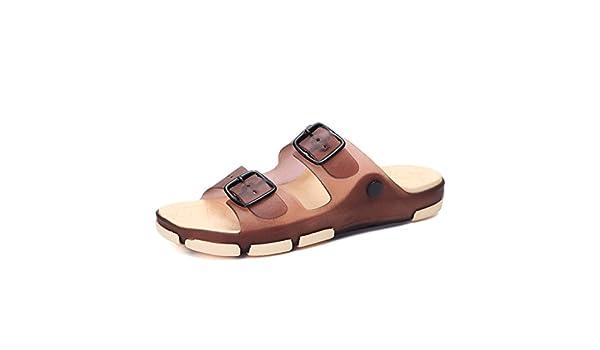 Amazon.com | Baqijian Summer Beach Slippers Sandals Casual Double Sandalias Women Slip on Flip Flops Flats Shoe Brown 5 | Flats