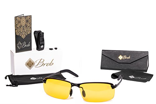 Breb Night Driving Glasses - Anti-glare - Yellow Tint Polarized Lens for Men and Women with Accessory - One Glasses Lens