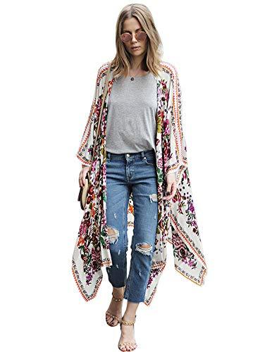 Zexxxy Damen Lange Sommer Boho Strand Kimono Cardigan Bluse Blumen Tops Bikini Cover Ups Übergroß Strickjacke Outwear