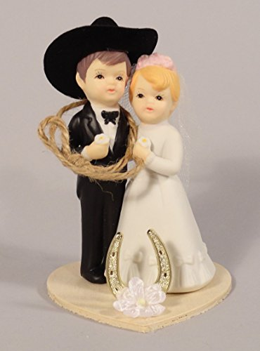 WC3- Western Wedding Couple Cake Topper or Table Decoration