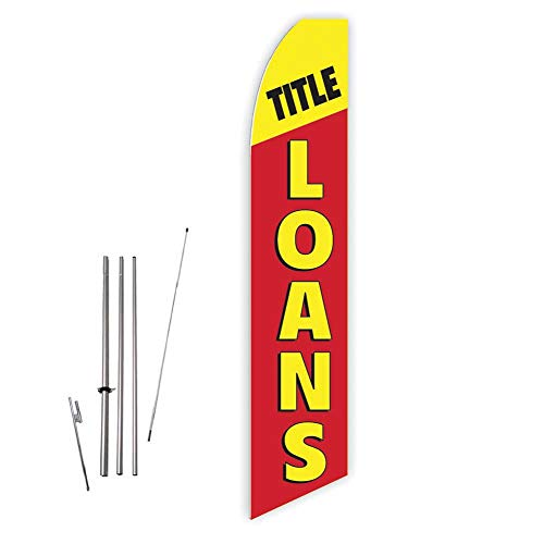 Title Loans (Red/Yellow) Super Novo Feather Flag - Complete with 15ft Pole Set and Ground Spike (Best Payday Loan Lenders)