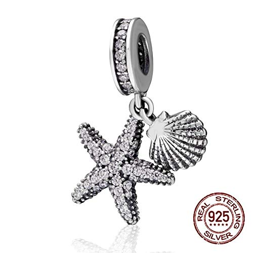 Tropical Starfish & Sea Shell Hanging Charm - 925 Sterling Silver Beads - European Style Bead Charm Bracelet ...