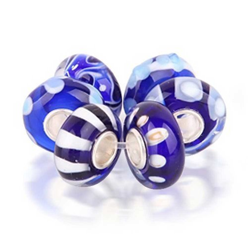 Set of Six Bundle white Simulated Sapphire Murano glass Lampwork Bead Charm .925 Sterling Silver
