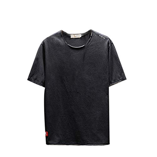LUCAMORE Men's Stylish Loose Shirt Solid Short Sleeve O-Neck Summer T-Shirt Top Blouse Black