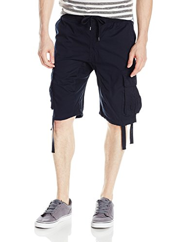 Southpole Men's Jogger Shorts With Cargo Pockets In Solid and Camo Colors, New Navy(New), X-Large (Solid Bermuda)