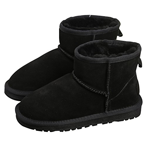 Flat Classic Sole Eastlion Shoes Short Winter Women's Thick Black Boots Skid Warm Snow Lined Boots Boots Fur Anti w7z4E7q