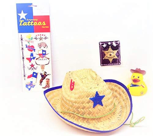 Texas Child's Sheriff Cowboy Hat, Ranger Badge, Temporary Tattoos & Cowboy Rubber Ducky Bundled! Red