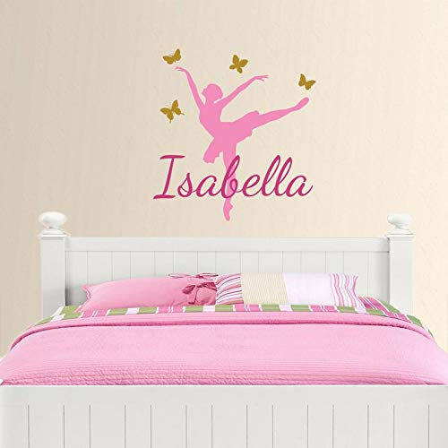 (CECILIAPATER Ballerina Name Wall Decal, Personalized Custom Monogram Wall Mural, Kids Room Decor, Girls Birthday Gift, Bedroom Wall Sticker, Wall Cling)