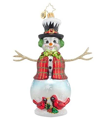 Christopher Radko Glass Cardinal Appeal Snowman Christmas Ornament #1017783