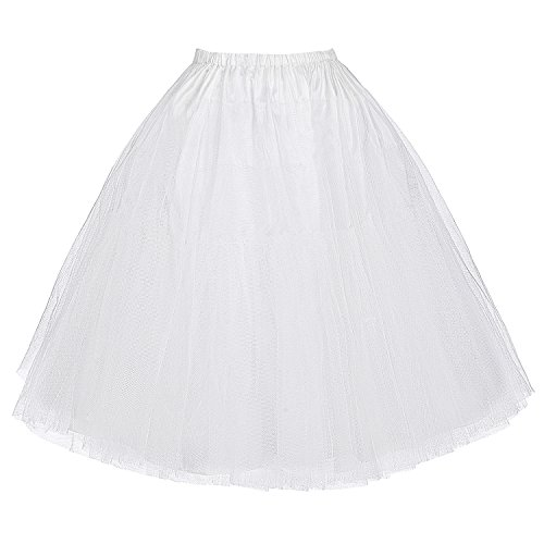 (Belle Poque Retro Dress Petticoat 25 Length Underskirt White S)