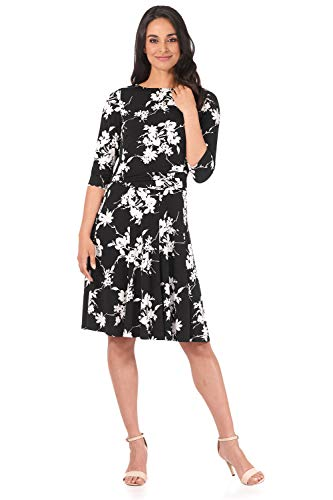 Rekucci Women's Flippy Fit N' Flare Dress with 3/4 Sleeves (6,Black/White Vine)