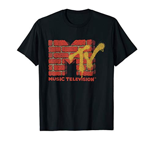 - MTV Logo With Brick Wall And Spray Paint Treatment  T-Shirt