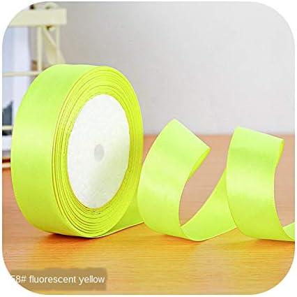kawayi-桃 22メートル/ロールサテンリボン卸売ギフトパッキングクリスマスの装飾手作りdiyリボンロール生地(6/10/12/15/20/25 / 40mm)-fluorescent Yellow-15mm