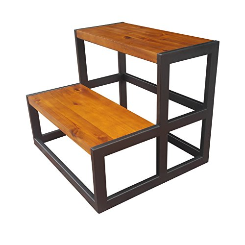 Design 59 inc Acacia Hardwood Step Stool/Bed Steps/Plant Stand, NO Assembly Required