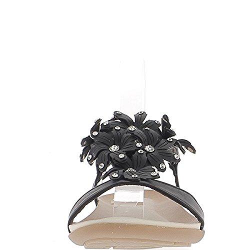 Sandali flat neri con decorazioni di fiori e strass