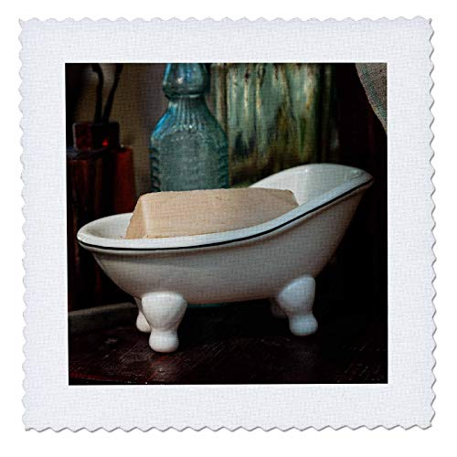 (3dRose Alexis Photography - Objects Misc. - Vintage soap Dish in The Shape of Bath tub with a bar of soap - 22x22 inch Quilt Square (qs_304541_9))