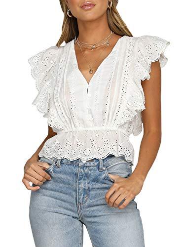 Fashiomo Women's V Neck Houllow Out Cotton Top Sleeveless Ruffle Tank Top Blouse White,L ()
