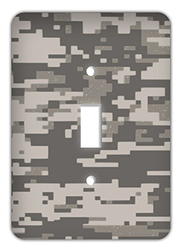Digital Camouflage Printed Trendy Single Switchplate Cover, Desert Tan
