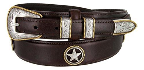 Oil-Tanned Leather Western Ranger Star Belt for Men(Brown, ()