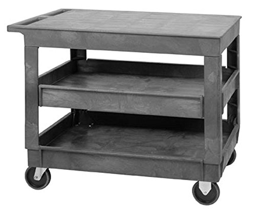 Quantum-PFTC4026-33-Flat-Top-3-Shelf-Plastic-Cart-40-Inch-by-26-Inch-by-33-Inch-Gray