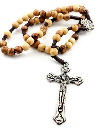 Catholic Prayer Rosary Olive Wood Beads Jerusalem Cross Medal & Metal Cross 10'' by Nazareth Store