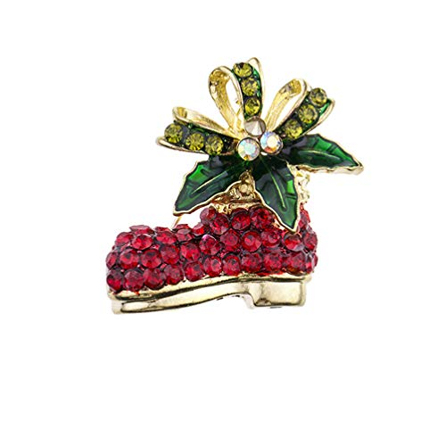 Pearl Bell Ornament - Eightgo Multi-Colored Rhinestone Crystal Christmas Brooch Pin for Christmas Decorations Ornaments Gifts Bell Deer Boots Hat Snowflakes Brooch (#03)