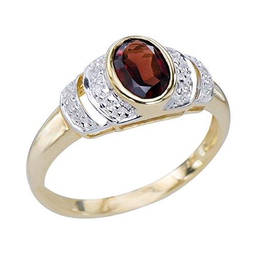 Sophisticated Womens Natural Garnet Gemstone 9K Yellow Gold & Diamond Ring 9k Yellow Gold Garnet Ring
