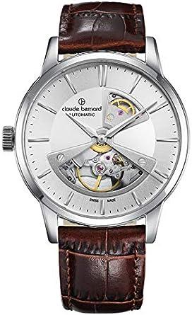 Claude Bernard Reloj automático para hombre plateado con correa de piel marrón, esfera esquelettiertem / Open Heart - 85017 3 ARBUN