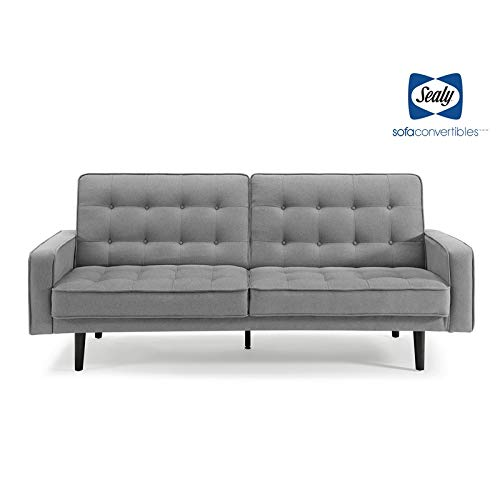 (Sealy Trieste Mid-Century Split-Back Microfiber Convertible Sofa in Gray)