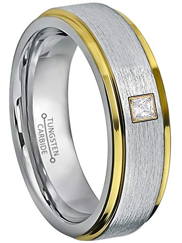 0.05ctw Solitaire Princess Cut Diamond Tungsten Ring - 6MM Brushed 2-Tone Stepped Edge Tungsten Carbide Wedding Band - April Birthstone Ring - s12.5 ()