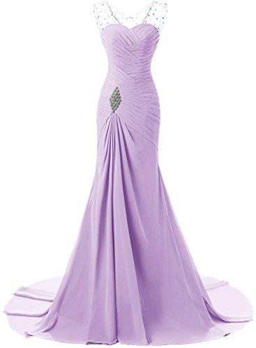 ACHICGIRL Mujer Vestido de Fiesta sin Mangas Cuello V Diamantes Falsos a Tierra Púrpura Claro