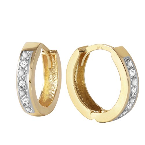 Galaxy Gold Genuine 14k Solid Yellow Gold Hoop Huggie Earrings with Stunning 0.04 Carat Natural Diamonds ()