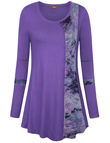 Gaharu Long Sleeve Tunic, Women's Casual Flowy Winter Tunic Blouse Pretty Scoop Neck Fitted Pleasant Jersey Tops Violet,M Purple Loose Fit Shorts