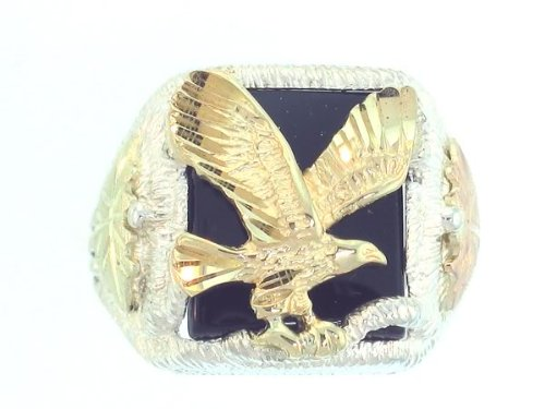 Gorgeous! Black Hills Gold Men's Sterling-silver Eagle Ring W/Black - Sterling Eagle Silver Ring
