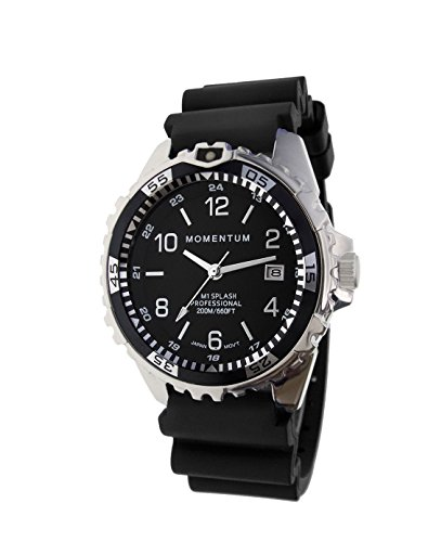 Momentum Women's Quartz Stainless Steel and Rubber Diving Watch, Color:Black (Model: 1M-DN11BB1B)