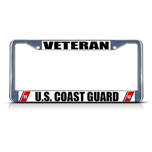 Veteran U.S. Coast Guard Navy Metal License Plate Frame Tag Border Two Holes Perfect for Men Women Car garadge Decor