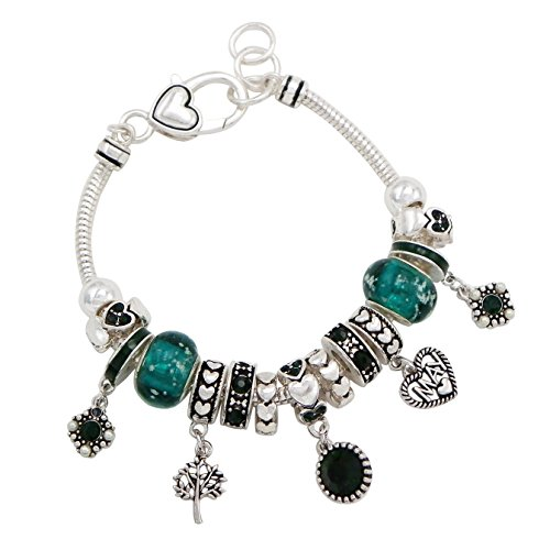 Rosemarie Collections Women's Birth Month Birthstone Glass Bead Charm Bracelet (May)