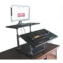 Ergoneer Heavy Duty Adjustable Standing Desk Stand Up Computer Workstation w/ Tilting N Sliding Keyboard Tray That Bears Extraordinary Weight from Your Upper Body (Checked Pattern Black)