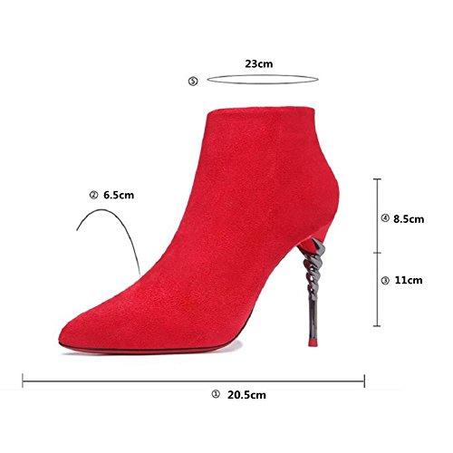 Martin de d'hiver 38 femme Stiletto à RED la Bottes mode Chaussures mariage Nightclub HCqw0q4