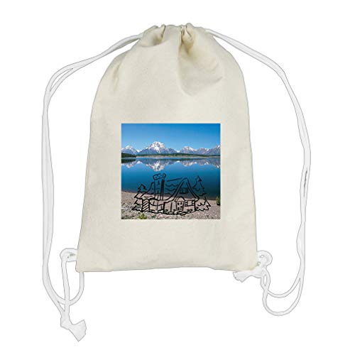 Lake Side Snowy Mountain And Bluish Sky Cotton Canvas Backpack Drawstring Bag by Style in Print